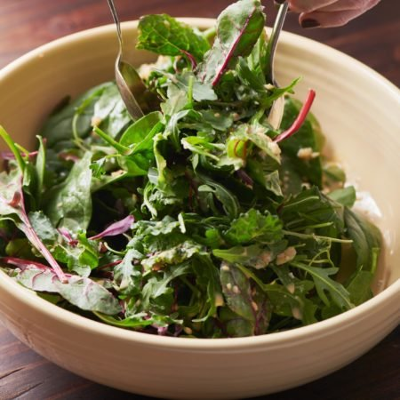 Mixed Green Salad with Creamy Sesame Dressing