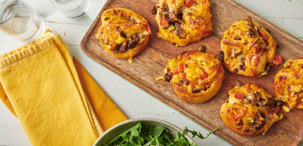 Cheeseburger Pizza Pinwheels